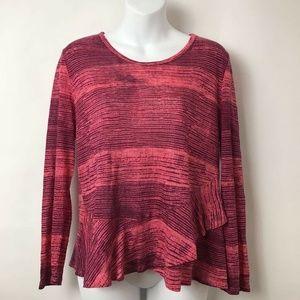 Lucky Brand Linen Blouse Red Stripe Ruffles Sz M